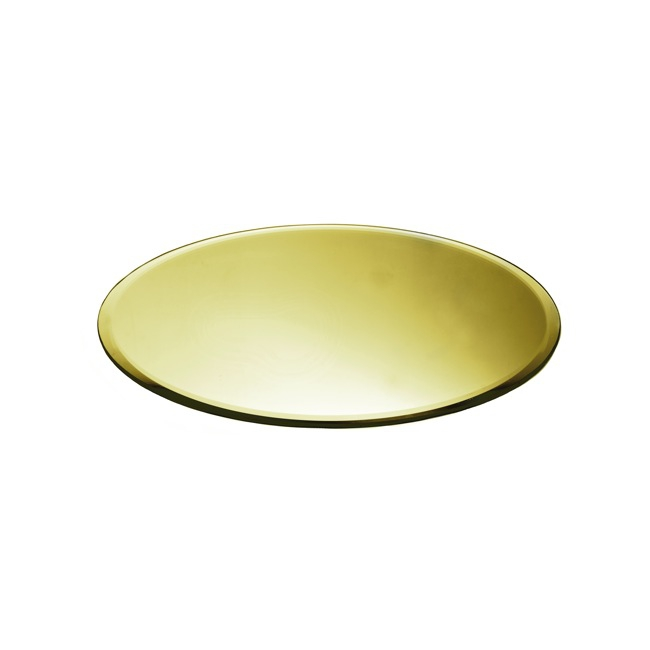 Round Mirror Candle Plate With Bevelled Edge Gold 30cm12