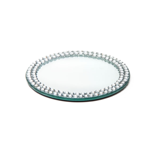 flat round mirror plate with diamond edge 13cm 5