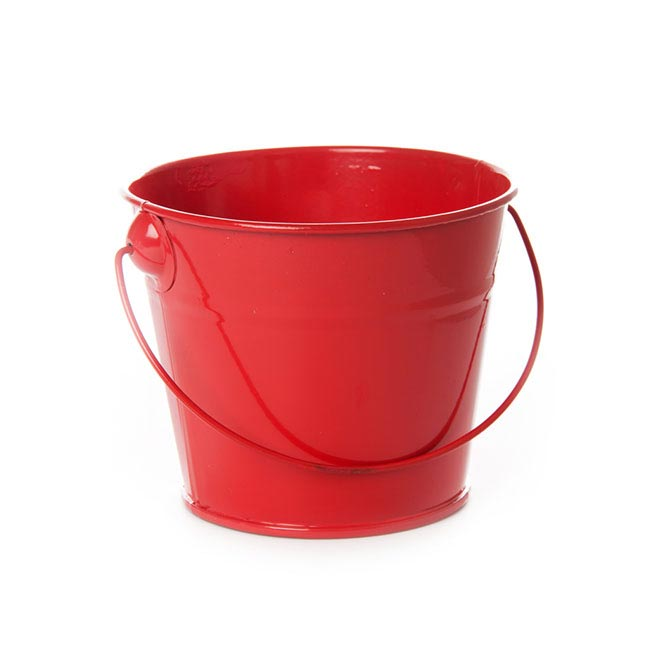 Tin Bucket With Handle Red 12 5dx10 5cmh