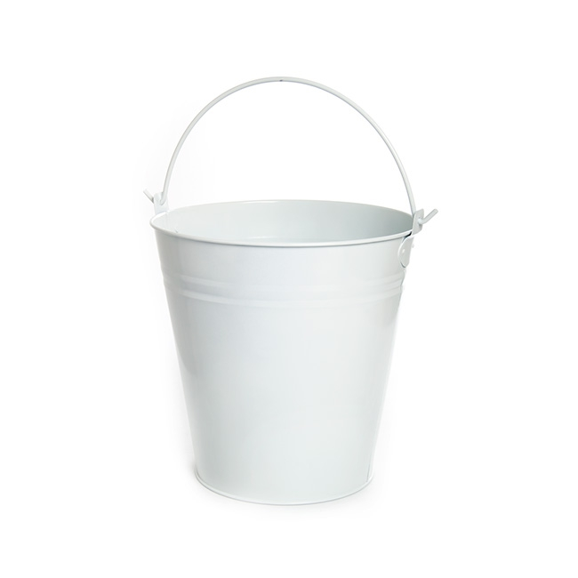 Tin Bucket With Handle 13lt White 27x28cmh
